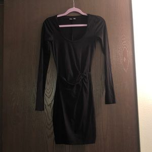 Express Black Long Sleeve Body Con Dress
